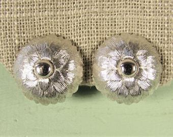 Monet Flower Earrings - Vintage Silver Tone Clip On