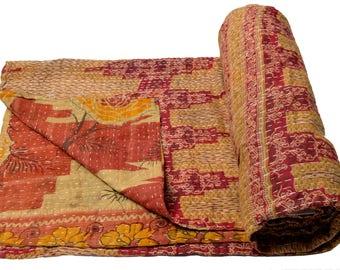 Vintage Kantha Quilt Gudri Reversible Throw Ralli Bedspread Bedding India OG1038