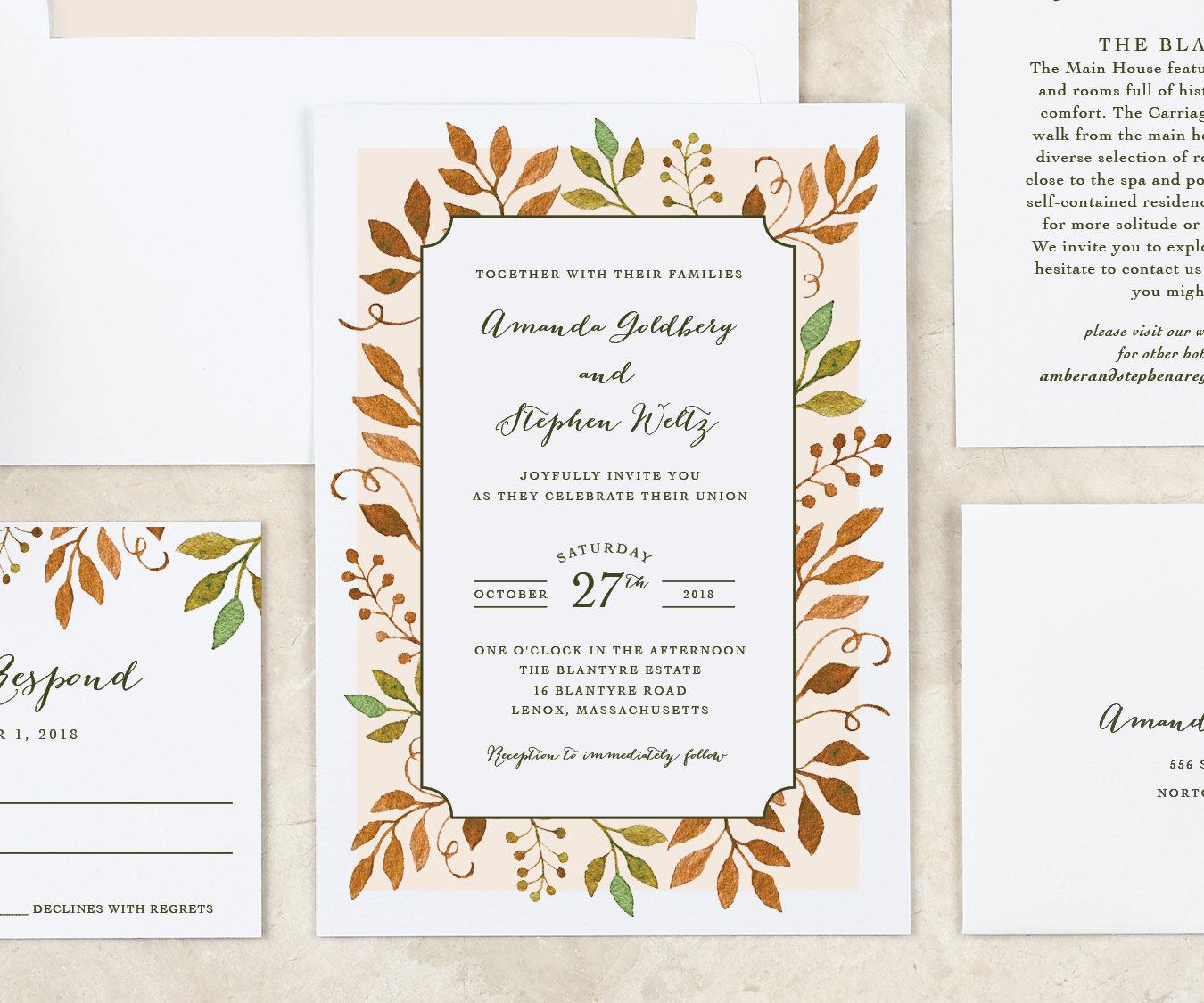 Fall Leaves Wedding Invitation Autumn Wedding Invitation Printable ...