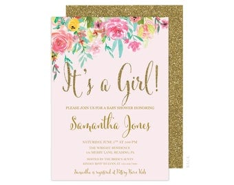 Floral Baby Girl Shower Invitation - 5x7 Baby Shower Invitations - Free Shipping - Gold and Pink - Pink and Gold Invitation - It's a Girl