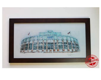 Custom drawing any Football Stadium drawing  Green Bay Packers Art Decor