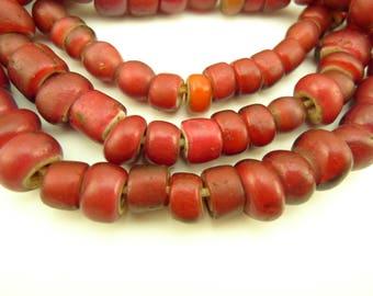 "22"" strand red white heart Venetian glass trade beads old tribal Africa AC-0126"