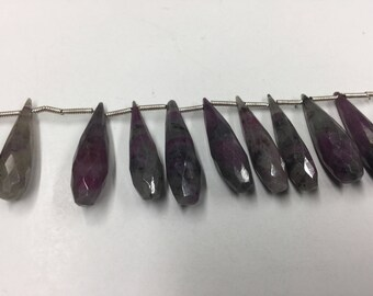 Ruby Zosite Drops Faceted