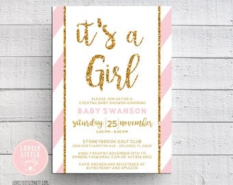 Baby Shower Invitation, It's a GIRL invitation, striped baby shower- Lovely Little Party