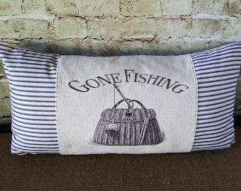 Lake Pillows - Cabin Pillows - 12 x 24  Pillow - Beach House Pillow - Beach Throw Pillow - Ticking Pillow - Lake Decor - Lake House Pillow