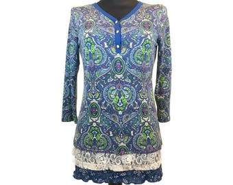 Womens Blue Paisley Tunic, Upcycled Clothing, OOAK Layered Tunic, Boho Paisley Tunic, Boho Refashioned Top, Altered Couture, Lagenlook