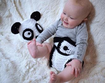 Panda Hat and Diaper Set - bear diaper set - animal diaper set - baby photo prop - boys girls diaper set - new baby gift - baby shower gift
