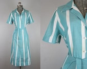 1940's Striped Cotton Day Dress / Size Large
