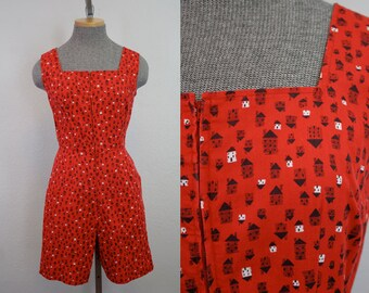 1950's Novelty House Print Cotton Playsuit / Size Small