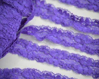 "Purple Lace Elastic, Lace Trim - Lace Stretch Elastic - 1"" Lace by the yard - Hair Elastic -Lace FOE - Stretch Lace"
