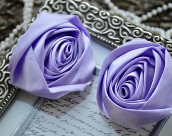 "3"" XLarge Satin Fabric Roses, Rolled Rosettes, Lavender Satin Rolled Rosettes, Satin Roses, Rolled Satin Roses, Satin Flowers"