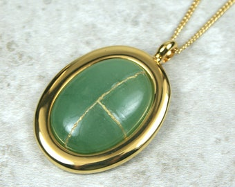 Kintsugi (kintsukuroi) green aventurine stone cabochon with gold repair in a gold plated setting on gold chain - OOAK