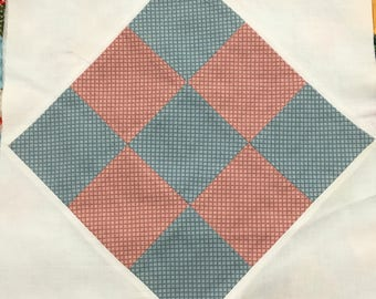24 Handmade Quilt Squares / Vintage Quilt Squares / Handmade Nine Patch Quilt Squares / Pink and Blue Quilt Top / Calico Quilt Top / 1980s
