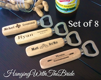 Set of 8 Personalized Bottle Opener, Groomsmen Gift, Wedding Gift, Engraved Wood opener, Custom Bottle Opener, Christmas gifts