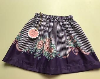 Vintage Roses with Purple Stripes and Ribbons - 4-7 yrs