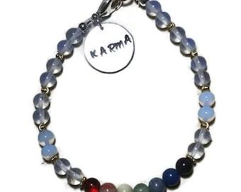 Chakra Genuine Gemstone Bracelet with 14KT Gold Filled Beads Opalite Beads  and Karma Hand Stamp Charm Meditation Yoga Spiritual Bracelet