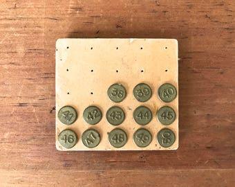 Vintage Ramco Brass Thumb Tacks Metal Window Marker Numbering Tacks . Vintage Push Pins . Photo Memo Boards