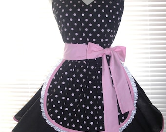 French Maid Retro Apron Pin-up Black and White Bubblegum Pink and Silver Bling Polka Dots Flirty Skirt Sweetheart Neckline