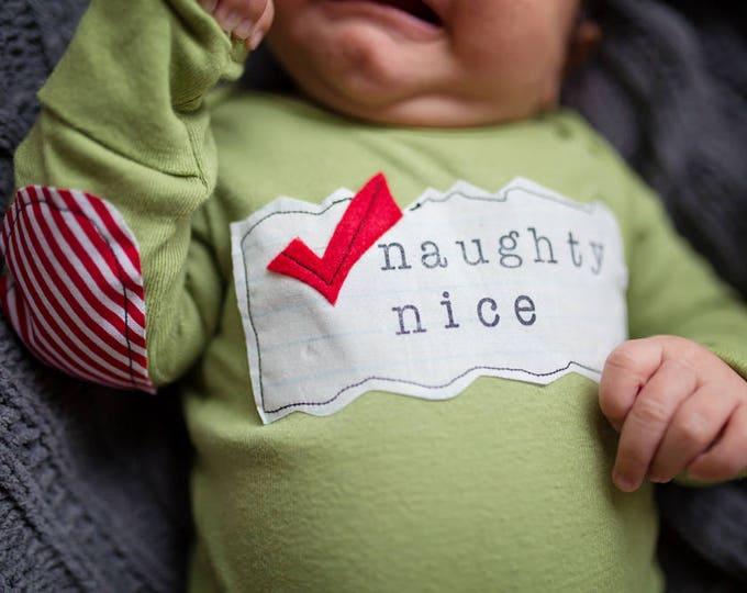 "Swanky Shank Hand Dyed ""Naughty or Nice"" Bodysuit or Tee; Christmas Shirt for babies, Baby Christmas Shirt"