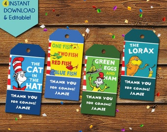 Dr Seuss Thank You Tags,  Dr Seuss  Party Favors, Dr Seuss Birthday Tags, Dr Seuss tags, Cat in the Hat, Party Tags, Gift Tags