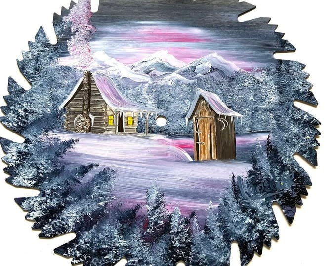 Hand Painted Saw Blade Mountain Winter Gray Mauve Cabin and Outhouse