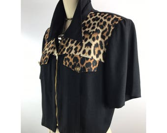 1970s leopard blouse by DAWN JOY FASHIONS
