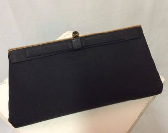 HL USA Black Fabric Clutch with Bow