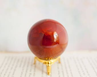 Carnelian Sphere - Gemstone Sphere - Clear Quartz Sphere - Boho - Gemstone - Carnelian Gemstone