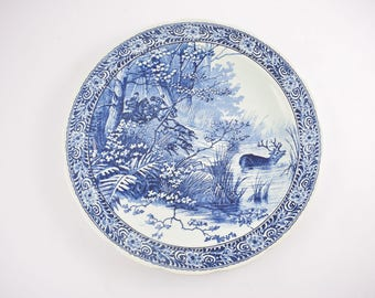 Delfts blue platter from Royal sphinx maastricht, wall plaque by Petrus Regout