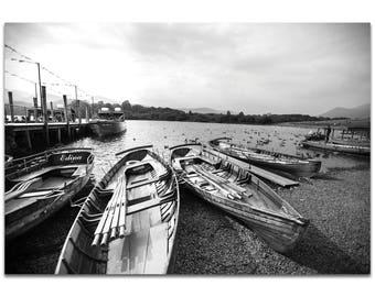 Black & White Photography 'Row of Rowers' by Meirav Levy - Coastal Art Tropical Beach Decor on Metal or Plexiglass
