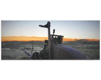 Western Wall Art 'Tractor Sunset' by Slade Reiter - American West Decor Country Rustic Photography on Metal or Plexiglass