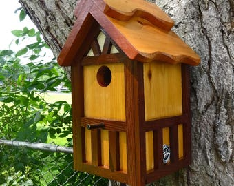 Painted Bird house/Nesting Box, American Tudor style 3, thatch roof design, EZ cleanout, western red cedar, Made in USA, fully functional