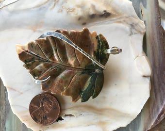 India Agate Leaf Silver Wrapped Pendant
