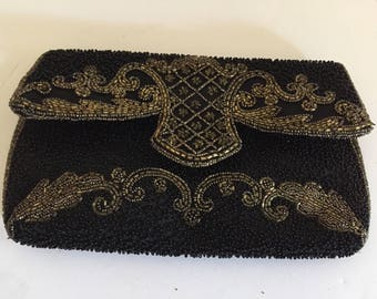 Vintage French Handmade Black Clutch