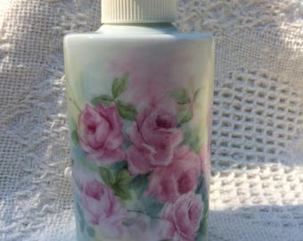 Soap dispenser or Lotion dispenser with hand painted Pink Rose flowers