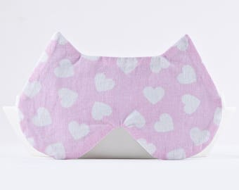Pink Sleep Mask, Valentines Day Gift for Her, Pink Cat Lover Gift, Night Mask, Girlfriend Gift