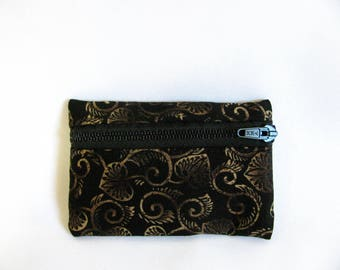Small pouch- Black brown and tan leaf print cotton