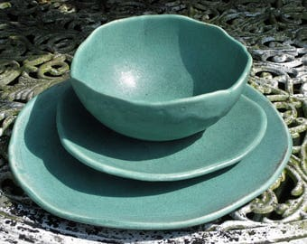 Tableware dinnerware set, dinner plate, side plate and salad/soup/breakfast bowl.  Black, turquoise, white. Made to order.