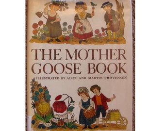 vintage Alice and Martin Provensen The Mother Goose Book, nursery rhymes, Georgian colonial Americana primer style illustrations, kids poems