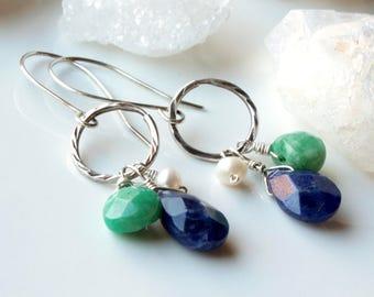 Sodalite Earrings, Amazonite, White Pearls, Sterling Silver, indigo blue green gemstones, hoop boho earrings, holiday gift for her, 4453