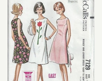 ON SALE 1960s Misses and Junior Flared Dress Pattern, McCall's 7129, Size 11-12, Bust 31 1/2-32 UNCUT