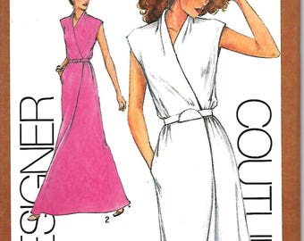 Simplicity 9518 Designer Couturier Pattern,  Cathy Hardwick Mock Wrap Dress or Evening Dress, Size 6-8, 10, 12, 14 & 16, UNCUT