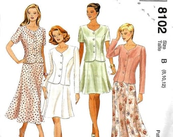 ON SALE McCall's 8102 Misses Petite-Able Two-Piece Dress Pattern, Four Gored Skirt And Semi-Fitted Jacket, Size 8-12, UNCUT