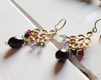 Golden Peacock Earrings -- brown blue green purple pink, Ready to Ship