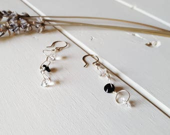 Brooke - Black & Clear Dangle Earrings,Ready to Ship