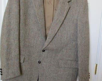 Harris Tweed Mens Brown Tweed WOOL Sport Coat Jacket Blazer 44 L