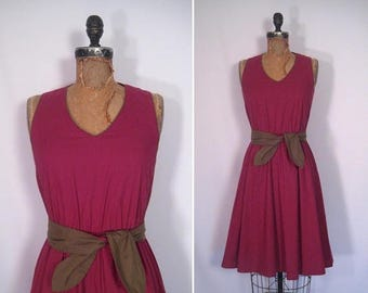 20% off sale : 1970s oxblood and olive sundress • 70s maroon fit and flare day dress • vintage wild about you dress