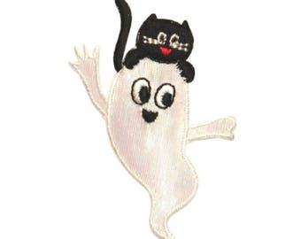 ID 0872A Friendly Ghost With Cat Patch Halloween Embroidered Iron On Applique