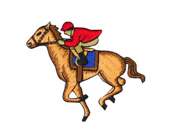 ID 1332 Horse Racing Jockey Patch Equestrian Rider Hobby Craft Iron-On Applique