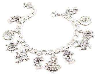 Anchor Bracelet Palm Tree Bracelet Anchor Jewelry Beach Themed Bracelet Fish Charm Ocean Love the Beach Gift  Love the Water Sea Shell B211